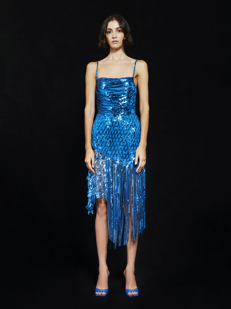 THE ATTICO ''Camelia'' ocean blue midi dress 1