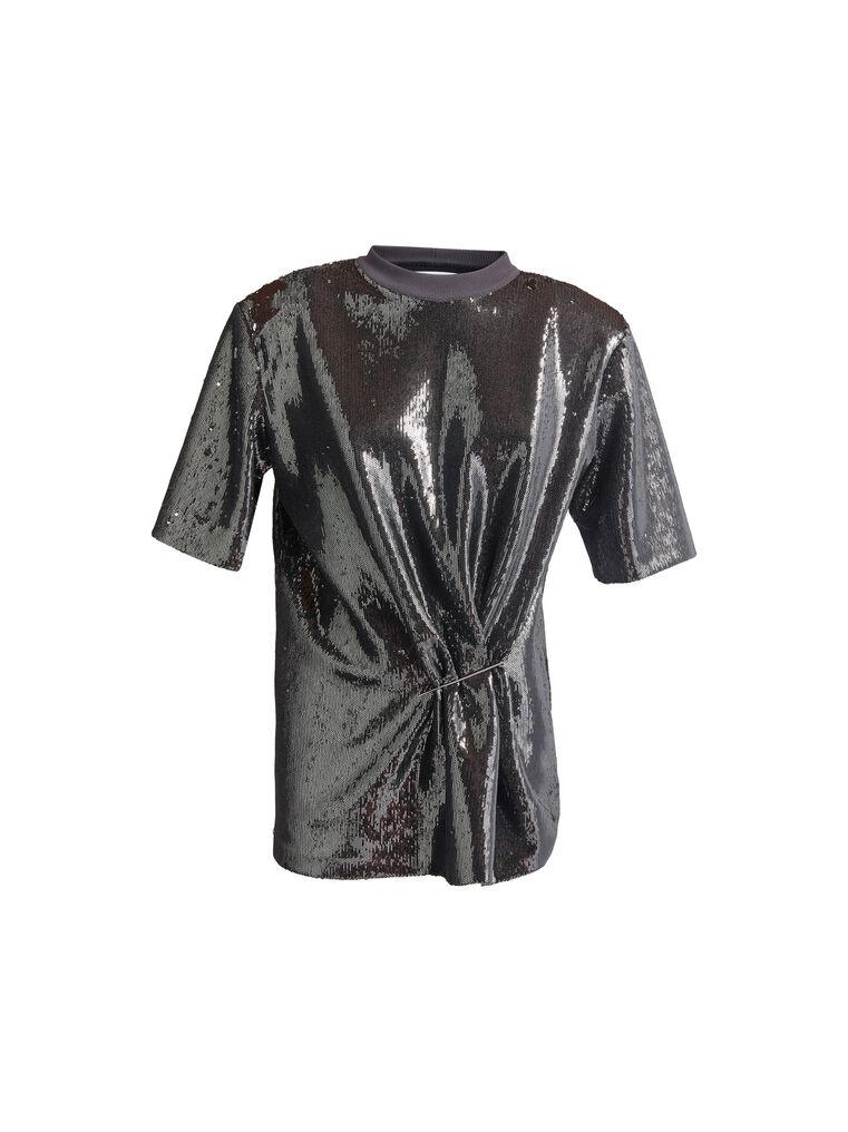 THE ATTICO Charcoal draped t-shirt 4