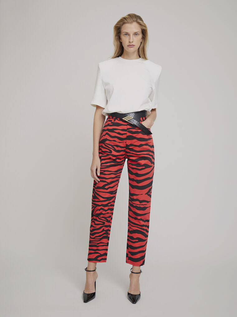 "The Attico ""Dua"" black and red  zebra printed pants 1"