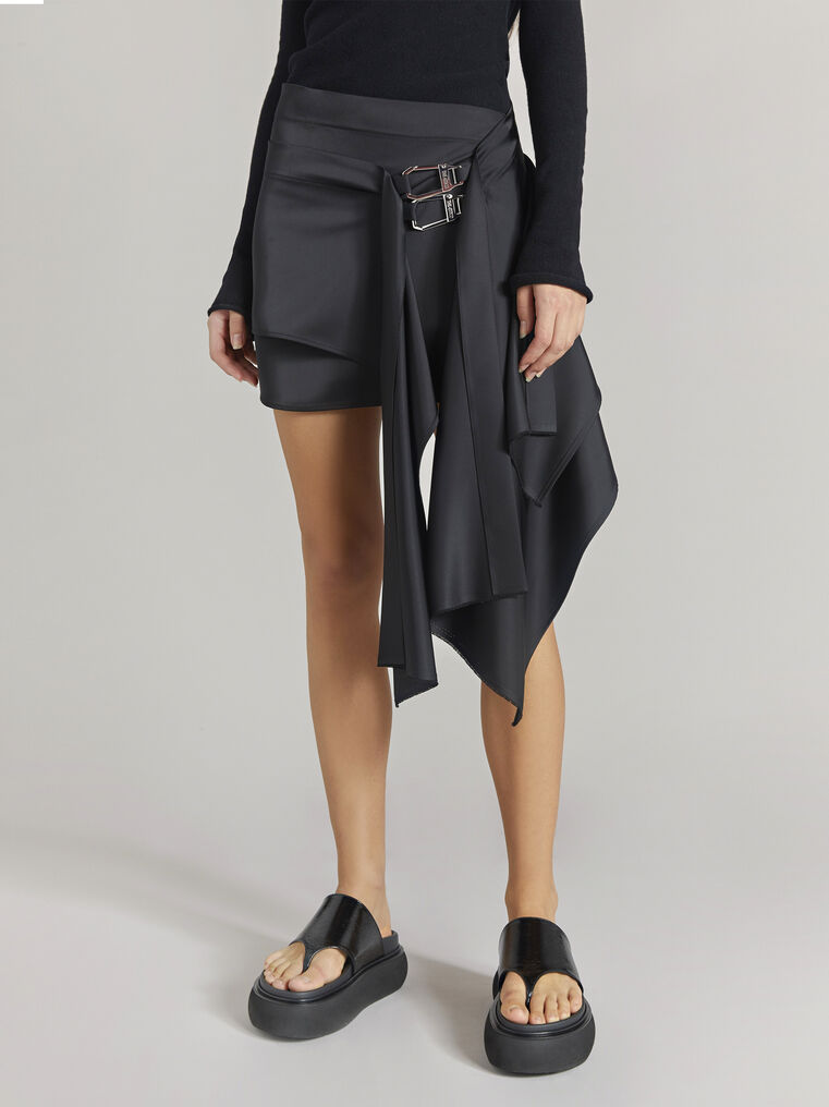 "THE ATTICO ""Robin"" black asymetrical mini skirt 2"
