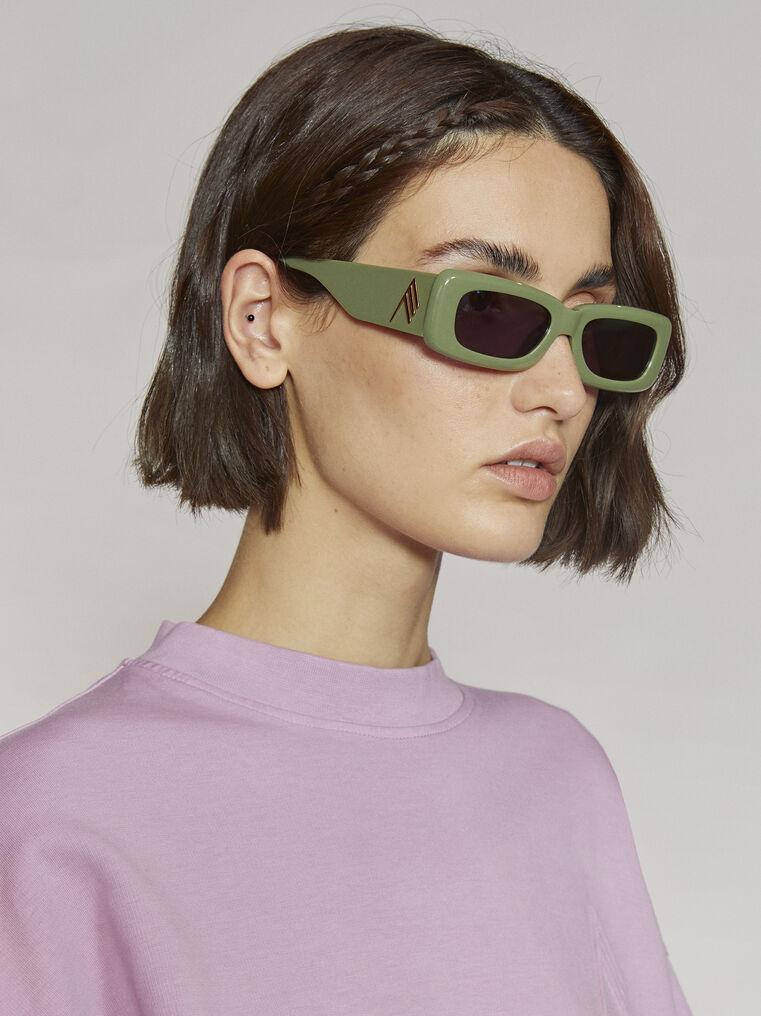 "THE ATTICO ""Mini Marfa"" olive sunglasses 1"