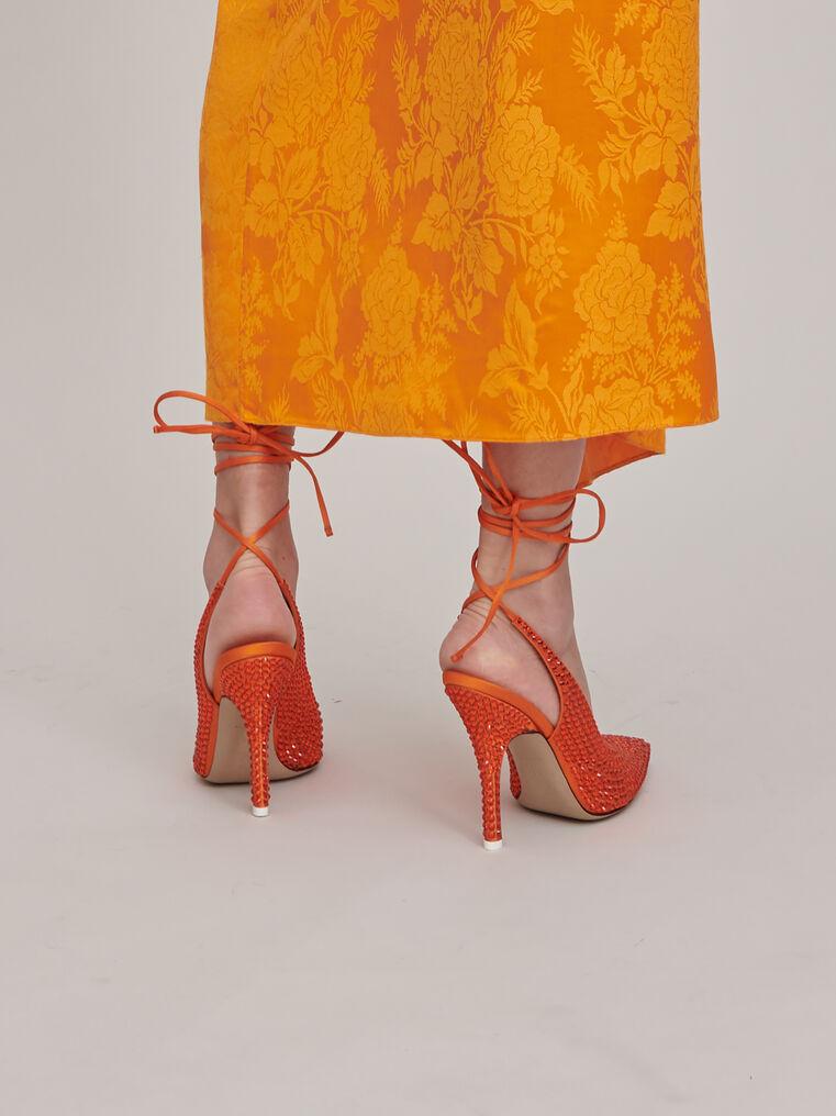 The Attico Venus orange slingback pumps with crystals 2