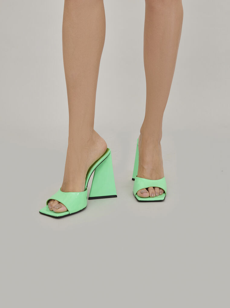 """The Attico """"Devon"""" neon green mule 1"""