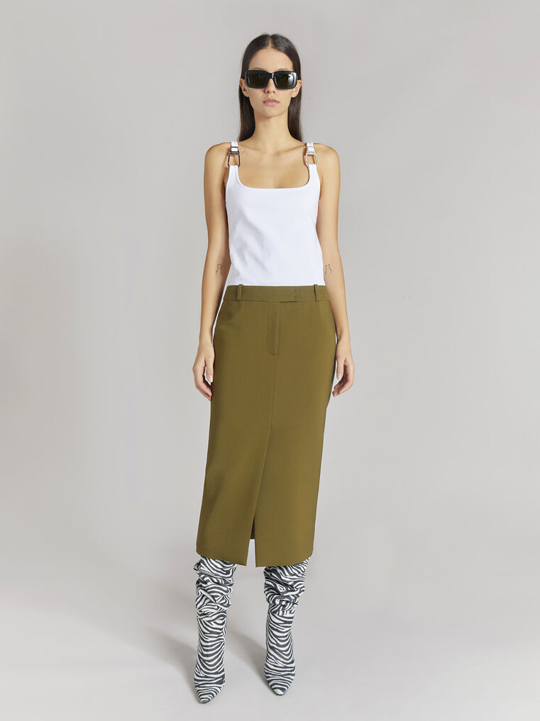 "THE ATTICO ""Cat"" military green midi skirt 1"