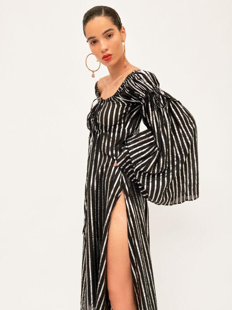 The Attico Dress Black And Silver Stripes 1