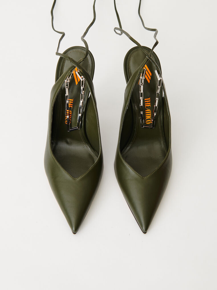 "The Attico Ivy green nappa leather ""Venus"" slingback with chain anklet 2"