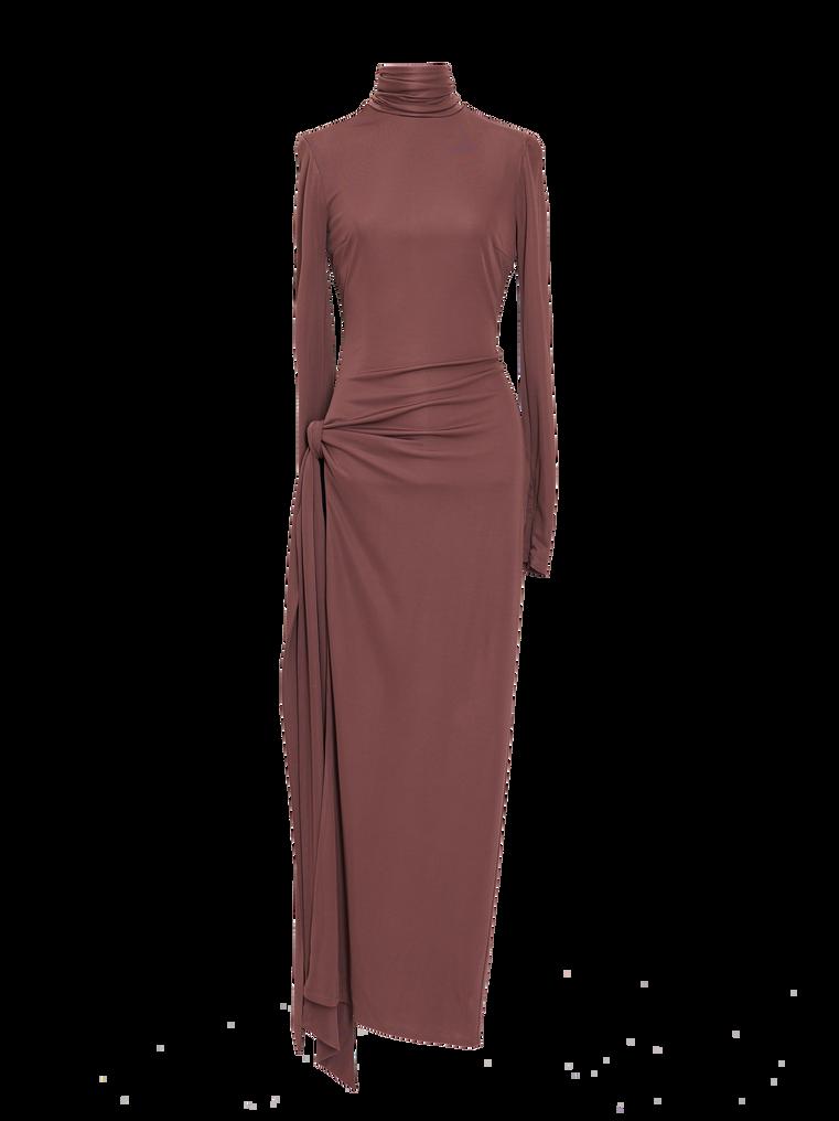 """The Attico """"Camille"""" brown knotted midi dress 4"""