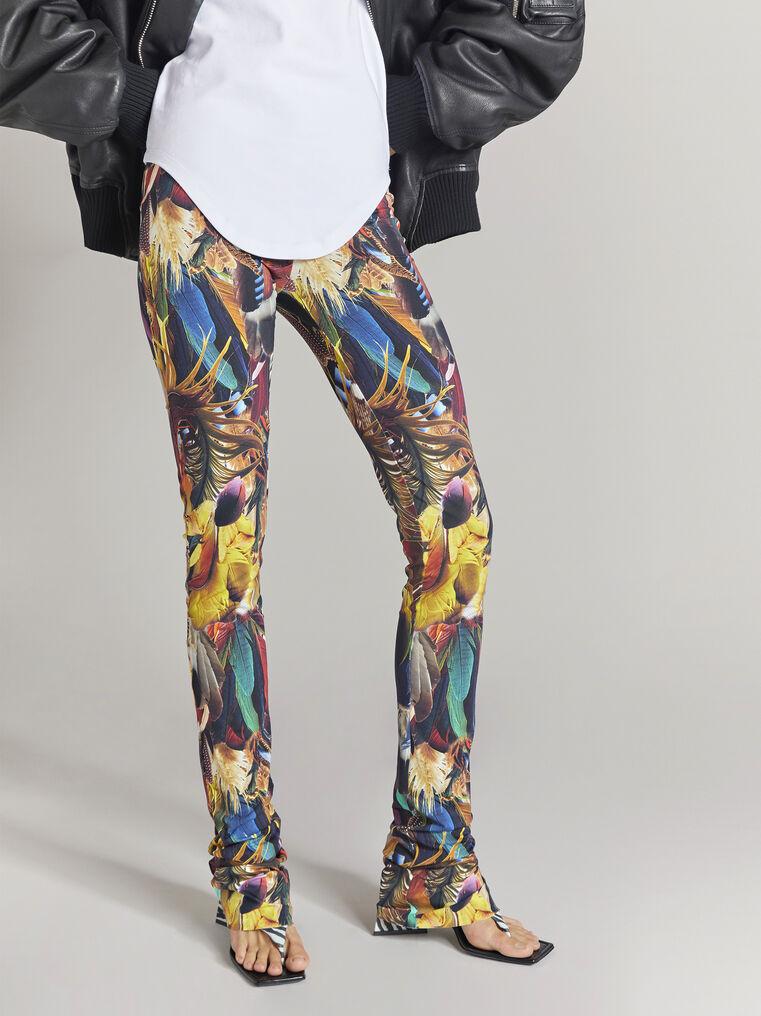 THE ATTICO Multicolor feathers printed leggings 2