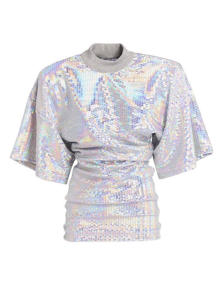 THE ATTICO Silver olographic t-shirt 4