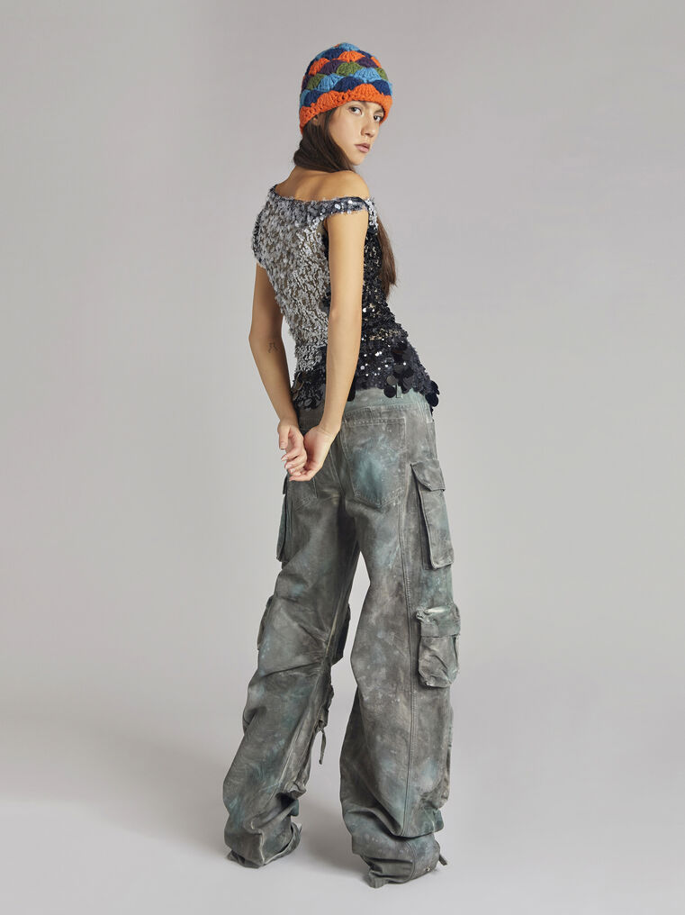 """THE ATTICO """"Fern"""" camouflage green pants 3"""