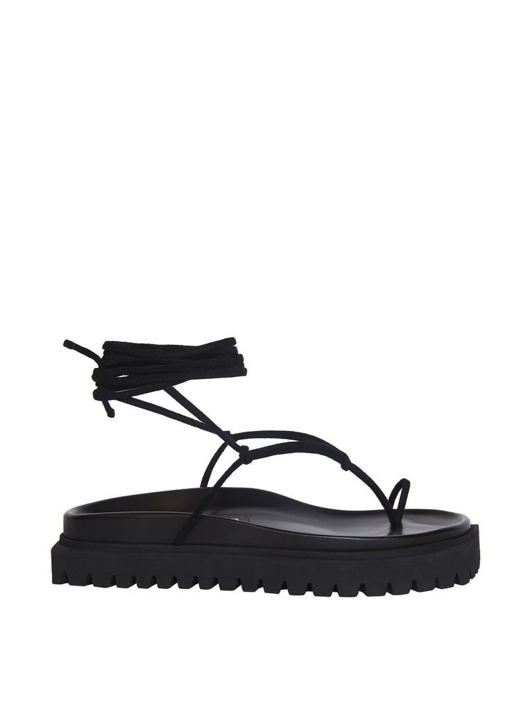"THE ATTICO ""Renée"" black suede flat thong 4"