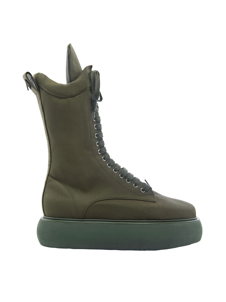 "THE ATTICO ""Selene"" military green boots flatform 4"