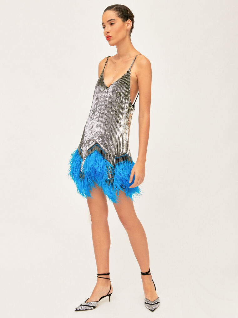The Attico Embro And Ostrich Feathers Strapless Mini Dress 1