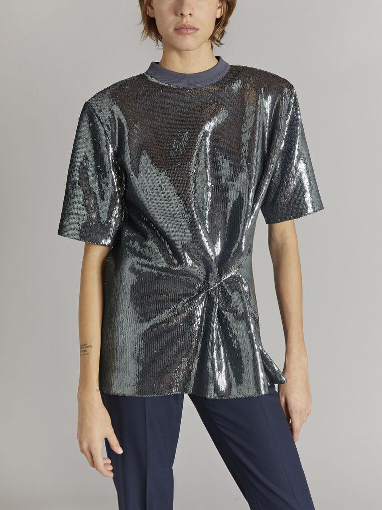 THE ATTICO Charcoal draped t-shirt 2