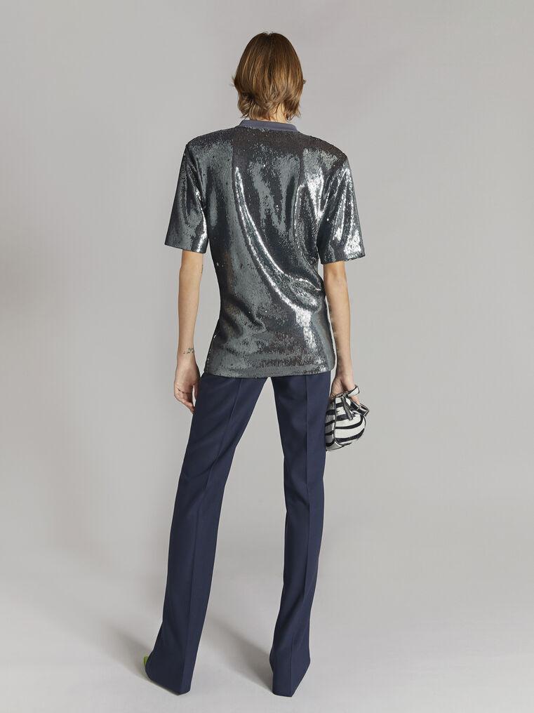 THE ATTICO Charcoal draped t-shirt 3