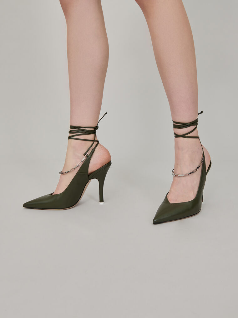 "The Attico Ivy green nappa leather ""Venus"" slingback with chain anklet 3"