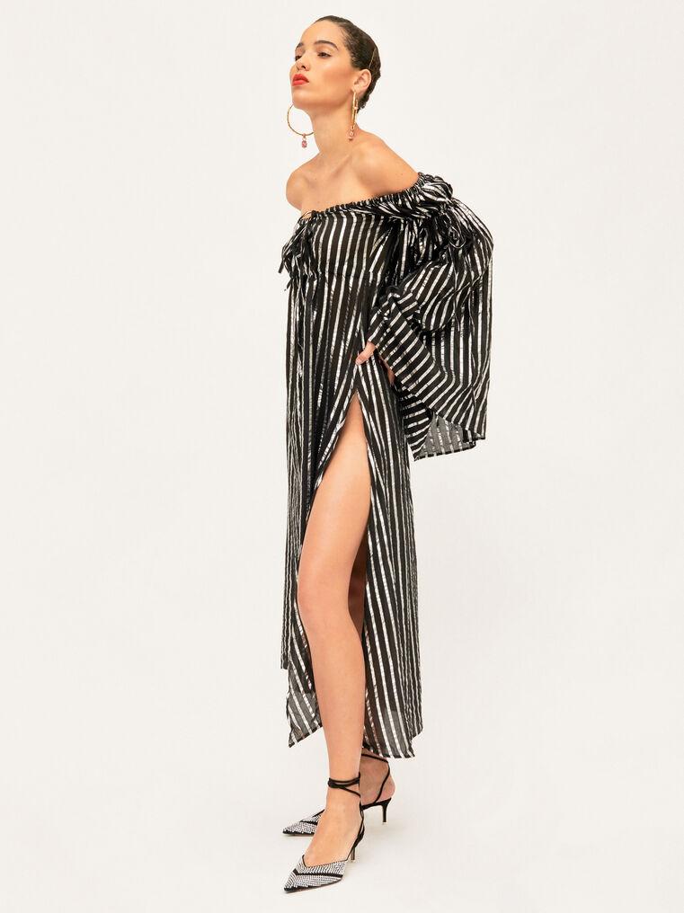 The Attico Dress Black And Silver Stripes 2