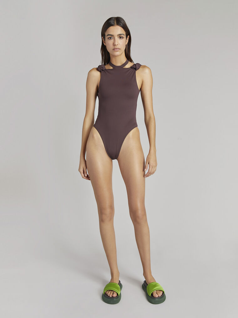 THE ATTICO Matte coffee swimsuit 1