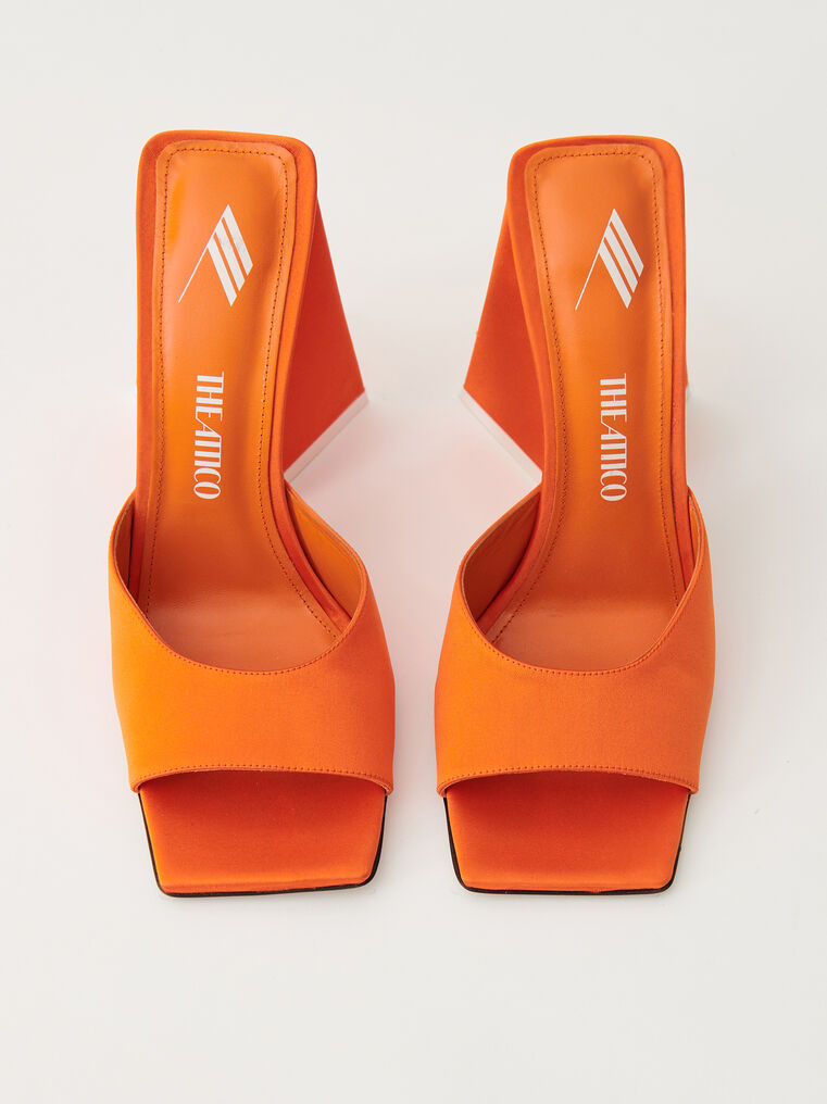 "The Attico Orange satin ""Devon"" mule 2"