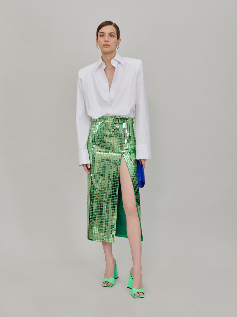 The Attico Pencil midi skirt with slit 1