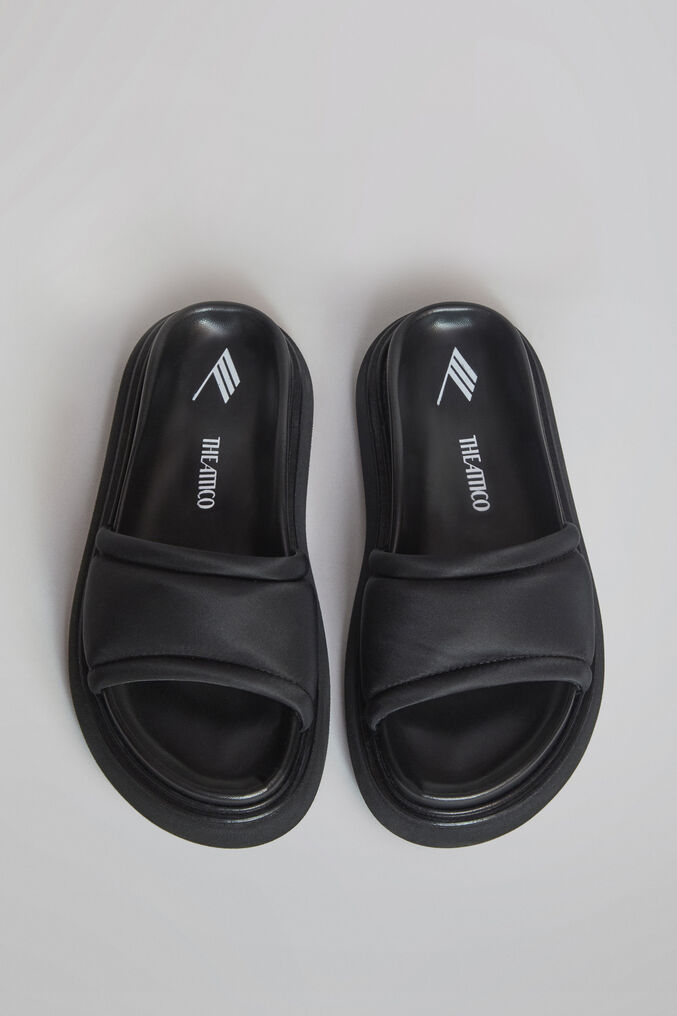"THE ATTICO ""Noah"" black nylon flat mule 2"