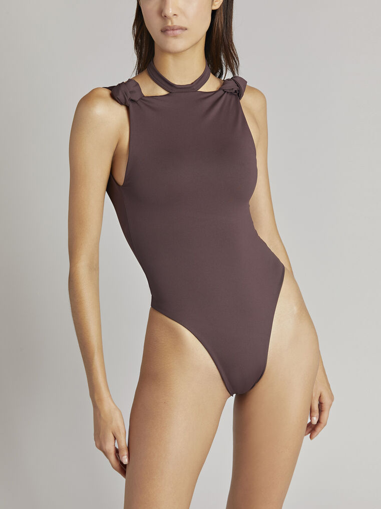 THE ATTICO Matte coffee swimsuit 2