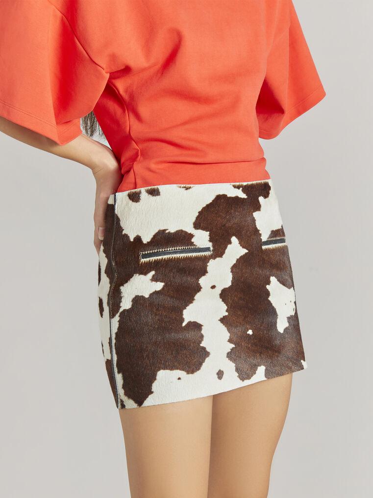 """THE ATTICO """"Edie"""" natural cow print mini skirt 2"""