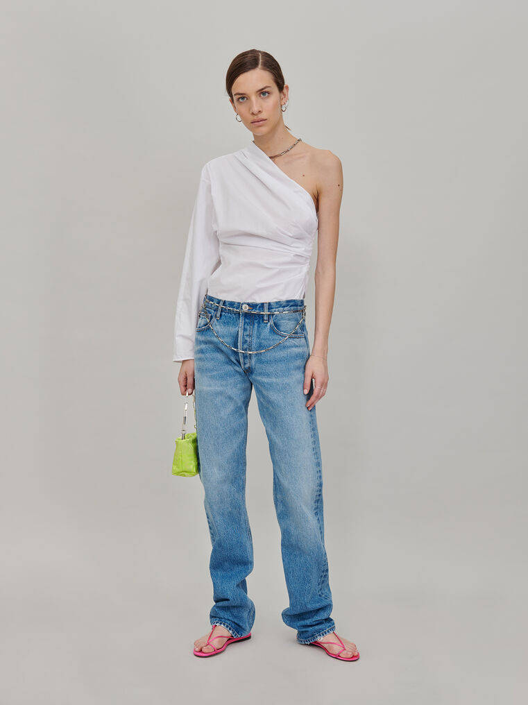 The Attico Single shoulder top with chain detail 1