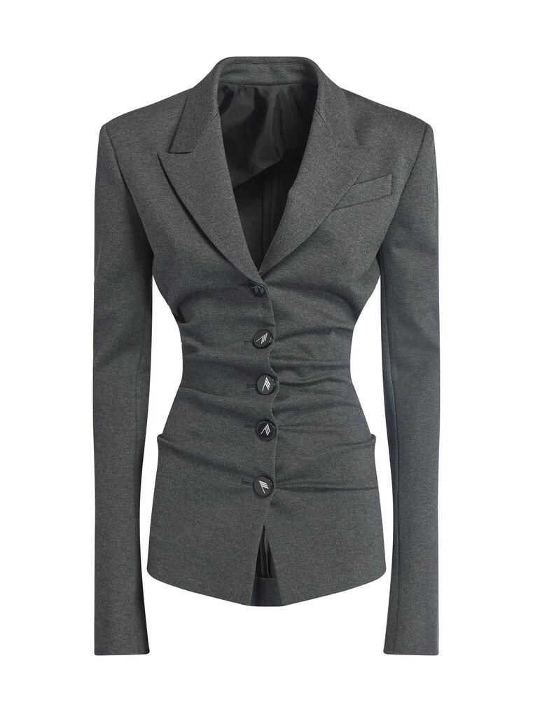 "THE ATTICO ""Monica"" charcoal draped jacket 4"
