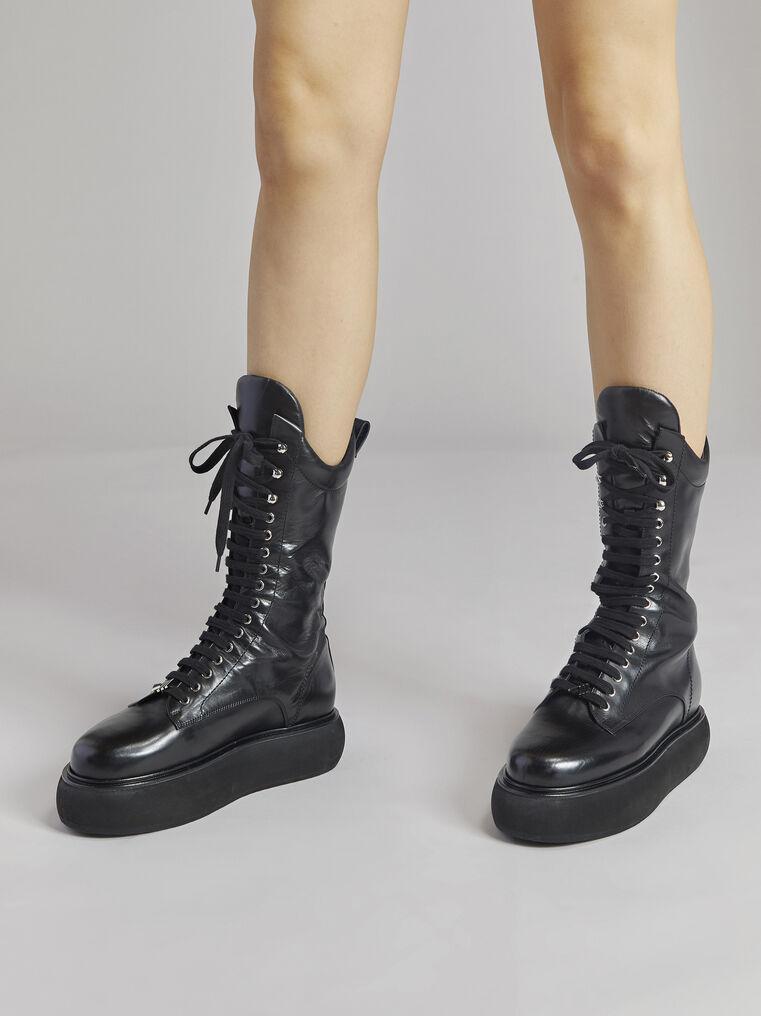 "THE ATTICO ""Selene"" black flat medium boots 1"