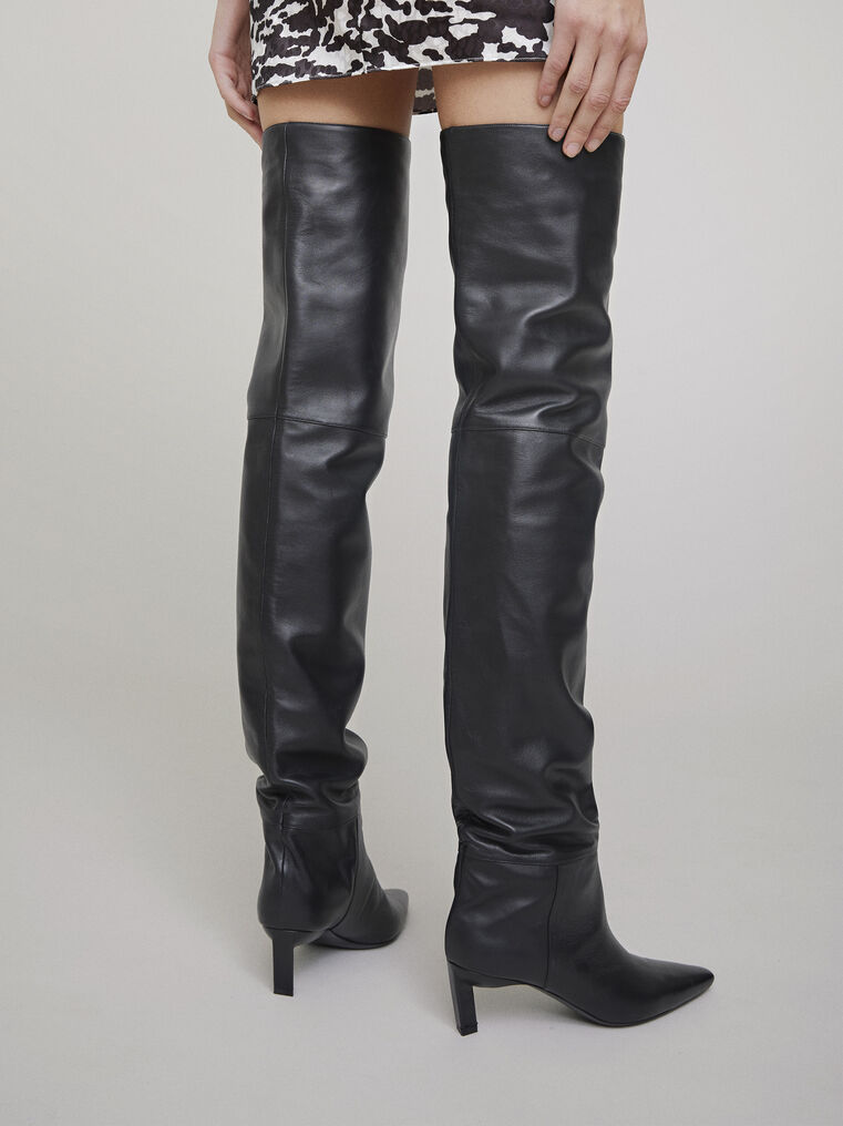 The Attico Black thigh high boot 2