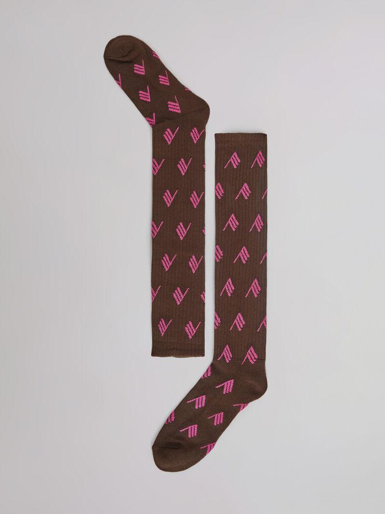 THE ATTICO Sahara bicolor allover sponge long socks 2