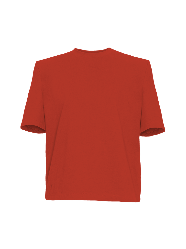 """The Attico """"Bella"""" red t-shirt with shoulder pads 4"""