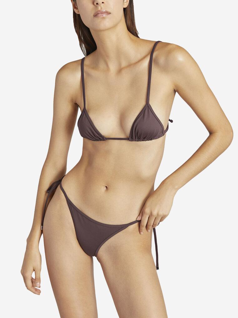 THE ATTICO Matte coffee triangle bikini top 2