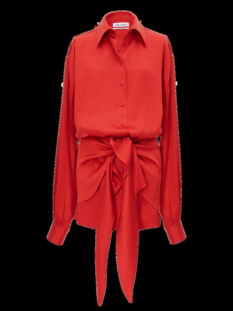 """The Attico """"Gigi"""" red chemisier mini dress 4"""