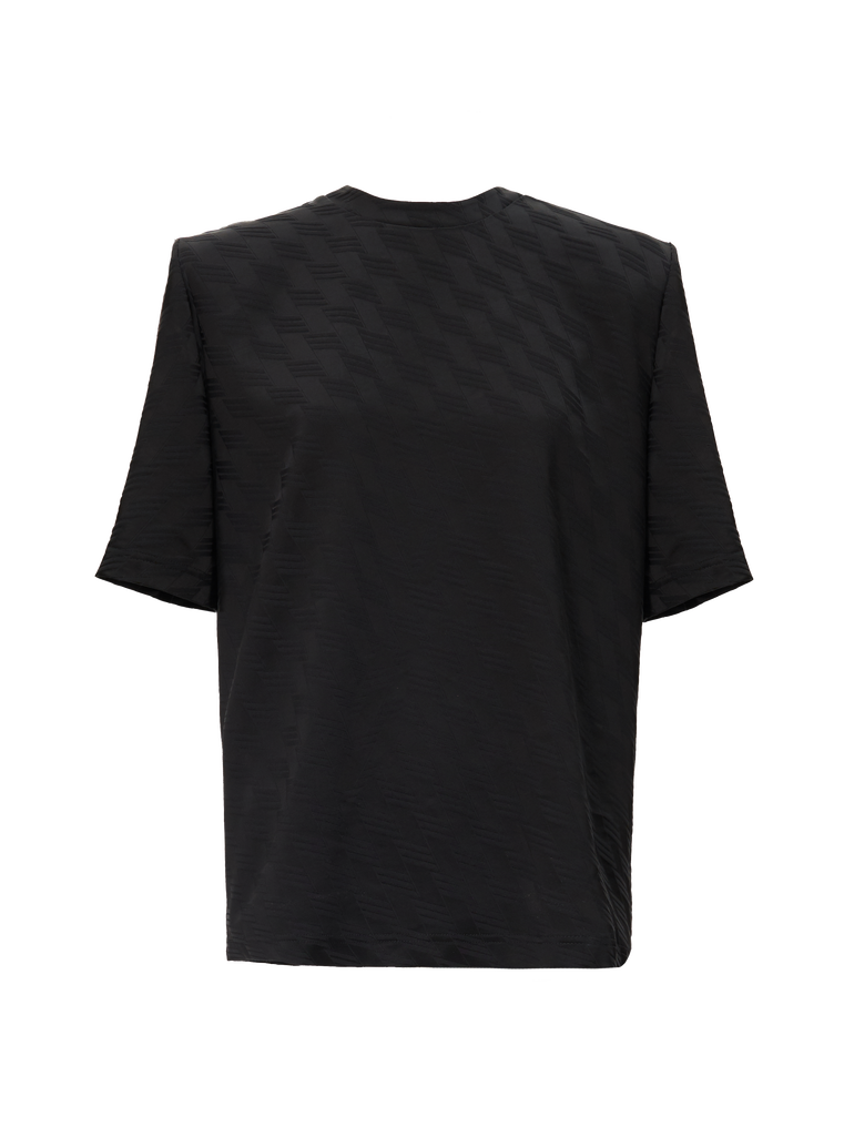 "The Attico ""Bella"" monogram black t-shirt with shoulder pads 4"